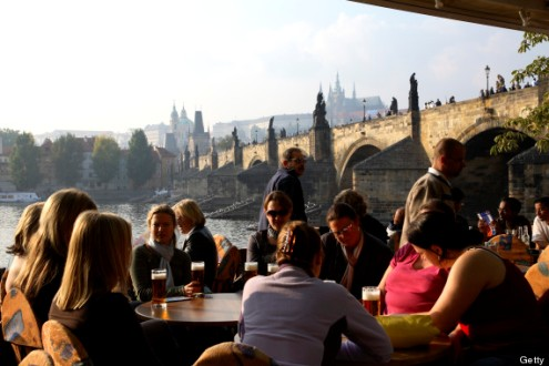 Outdoor restaurant overlooking the Vltava Moldau River.